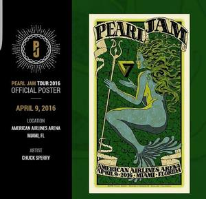 Concert poster from Pearl Jam - American Airlines Arena, Miami, FL, USA - 9. Apr 2016
