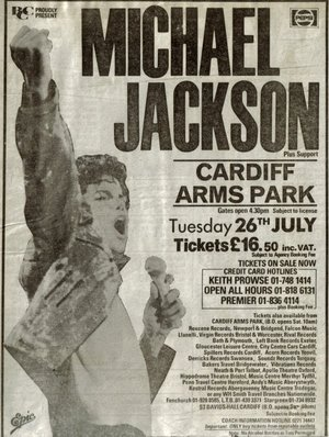 Concert poster from Michael Jackson - Arms Park, Cardiff, United Kingdom - 26. Jul 1988