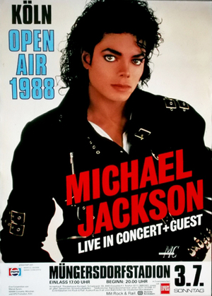 Concert poster from Michael Jackson - Müngersdorfer Stadion, Cologne, Germany - 3. Jul 1988