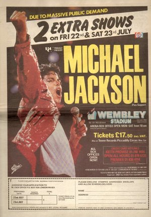 Concert poster from Michael Jackson - Wembley Stadium, London, United Kingdom - 23. Jul 1988