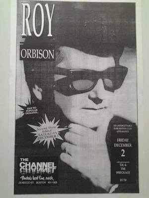 Concert poster from Roy Orbison - The Channel, Boston, MA, USA - 3. Dec 1988