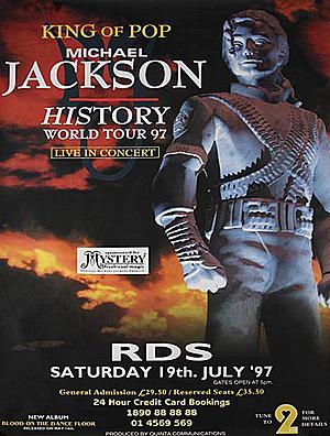 Concert poster from Michael Jackson - RDS Arena, Dublin, Ireland - 19. Jul 1997