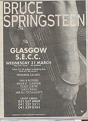 Concert poster from Bruce Springsteen - S.E.C.C., Glasgow, United Kingdom - 31. Mar 1993