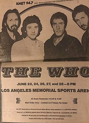 Concert poster from The Who - Los Angeles Sports Arena, Los Angeles, CA, USA - 27. Jun 1980