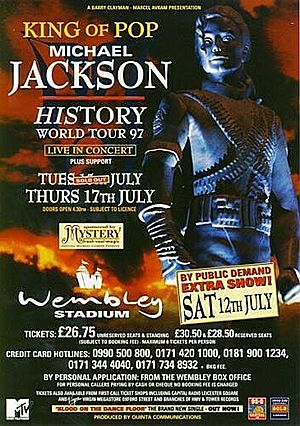 Concert poster from Michael Jackson - Wembley Stadium, London, United Kingdom - 17. Jul 1997