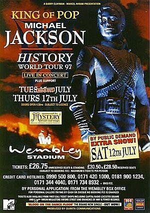 Concert poster from Michael Jackson - Wembley Stadium, London, England - 12. Jul 1997