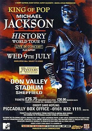 Concert poster from Michael Jackson - Don Valley Stadium, Sheffield, United Kingdom - 9. Jul 1997