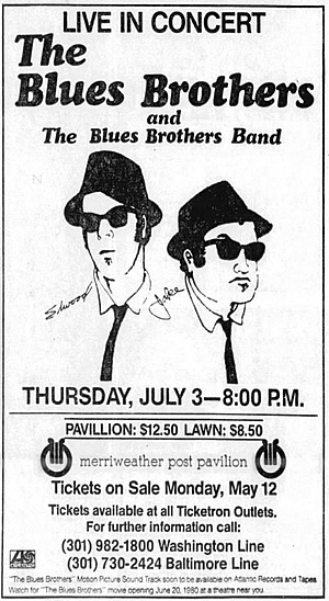 Concert poster from Blues Brothers - Merriweather Post Pavilion, Columbia, MD, USA - 3. Jul 1980