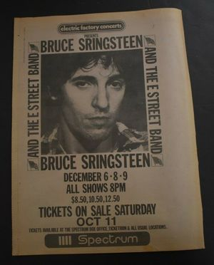 Concert poster from Bruce Springsteen - First Union Spectrum, Philadelphia, PA, USA - 9. Dec 1980