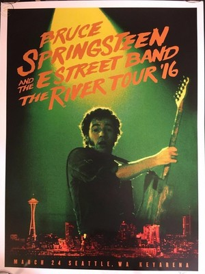 Concert poster from Bruce Springsteen - Key Arena, Seattle, WA, USA - 24. Mar 2016