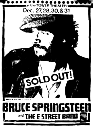 Concert poster from Bruce Springsteen - Tower Theatre, Upper Darby, PA, USA - 27. Dec 1975