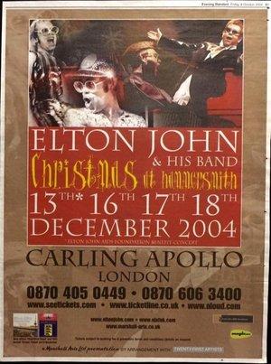Concert poster from Elton John - Carling Apollo Hammersmith, London, England - 17. Dec 2004