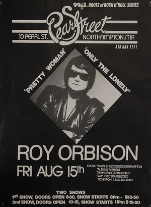 Concert poster from Roy Orbison - Pearl Street, Northampton, MA, USA - 15. Aug 1980