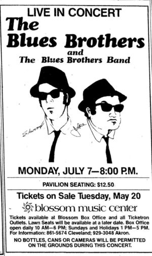 Concert poster from Blues Brothers - Blossom Music Center, Cuyahoga Falls, OH, USA - 7. Jul 1980