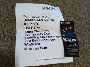 Setlist photo from Beady Eye - Ed Sullivan Theater, New York, NY, USA - 22. Jun 2011