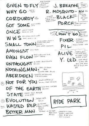 Setlist photo from Pearl Jam - Hyde Park, London, United Kingdom - 25. Jun 2010