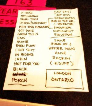 Setlist photo from Pearl Jam - Budweiser Gardens, London, ON, Canada - 16. Jul 2013