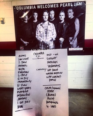 Setlist photo from Pearl Jam - Colonial Life Arena, Columbia, SC, USA - 21. Apr 2016